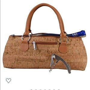 NWOT Wine Tote, Primeware, gold and cork insulated